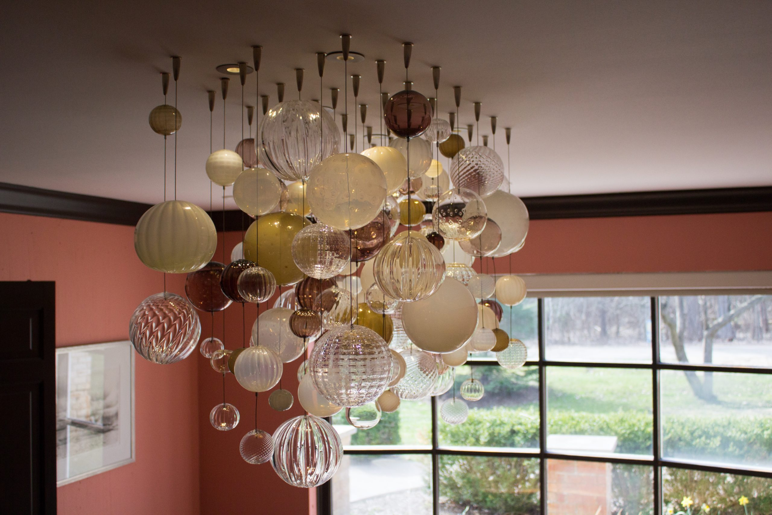 Whiskey and Ivory Bubble Chandelier